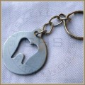 Dental Round Tag Keychain, Stainless Steel