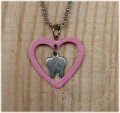 Pink Heart Necklace with Tooth, beaded Chain