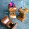 Pen Holder Tooth Shaped, Natural Wood