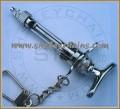 Dental Syringe Keychain, Silver Plated, Folding