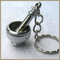 Mortar Pestle Keychain, Silver Plated