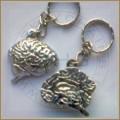 Human Brain keychain, Silver Plated