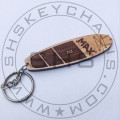 Customised Surfboard keychain Solid Wood, laser engrvaed
